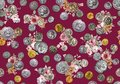 Seamless ancient coins pattern with watercolor flowers on black red background ready for textile print.