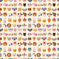 Seamless animal face pattern cartoon vector illustration Stock Photos