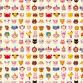 Seamless animal face pattern cartoon vector illustration Stock Image