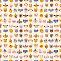 Seamless animal head pattern cartoon vector illustration Stock Photos