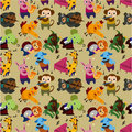 Seamless animal music pattern Royalty Free Stock Photography