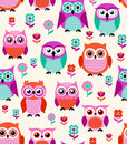 Seamless Animal Owls Pattern