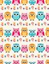 Seamless animal owls flower pattern