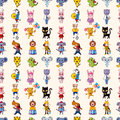 Seamless animal pattern cartoon vector illustration Royalty Free Stock Photo