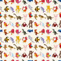 Seamless animal pattern cartoon vector illustration Stock Photo