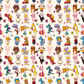 Seamless animal pattern cartoon vector illustration Stock Photography