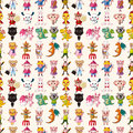 Seamless animal pattern cartoon vector illustration Stock Photos