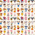 Seamless animal pattern cartoon vector illustration Stock Images