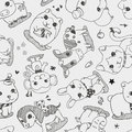Seamless animal pattern cartoon vector illustration Stock Image