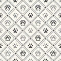 Seamless animal pattern of paw footprint in frame Royalty Free Stock Photo