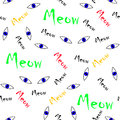 Seamless animal pattern vector blues cat eyes with colorful meow words