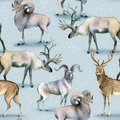 Seamless animal pattern, Watercolor background of stag, deer and mutton on snow