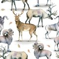 Seamless animal pattern, Watercolor background of stag, deer and mutton on white