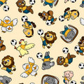 Seamless animal soccer pattern Royalty Free Stock Photography