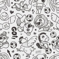 Seamless animal soccer player pattern cartoon vector illustration Stock Images