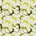 Seamless animal vector pattern, chaotic background with colorful reptiles, silhouettes over light green backdrop Royalty Free Stock Photo