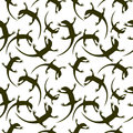 Seamless animal vector pattern chaotic background with dark reptiles silhouettes over white backdrop Royalty Free Stock Photos