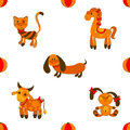 Seamless animales pattern vector illustartion Stock Images