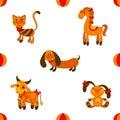 Seamless animales pattern vector illustartion Stock Images