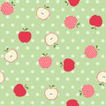 Seamless apple background on the green polka dots Royalty Free Stock Photo
