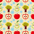 Seamless apple tree pattern Stock Photos