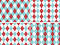 Seamless Argyle Patterns Aqua Blue, Red with Solid Silver Line