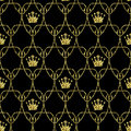 Seamless Art Nouveau Crowns Scale Pattern with Gold Royalty Free Stock Photo