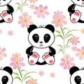 Seamless asia panda bear kids illustration background pattern