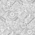 Seamless asian ethnic floral doodle pattern. Royalty Free Stock Photo