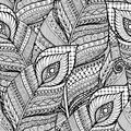 Seamless asian ethnic floral retro doodle black and white background pattern in vector with feathers. Royalty Free Stock Photo