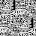 Seamless asian ethnic floral retro doodle black and white background pattern in vector.