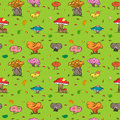 Seamless Autumn Background. Colorful Hand Drawn Cute Mushrooms, Caterpillar, Snail, Ant and Falling Leaves. Royalty Free Stock Photo