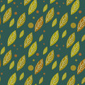 Seamless autumn falling leaves pattern on green Royalty Free Stock Photo
