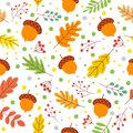 Seamless autumn leaves pattern. Fall season colors, fallen yellow leaf and autumnal acorns vector illustration Royalty Free Stock Photo