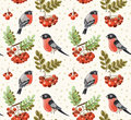 Seamless autumn pattern with bullfinch and rowan branches winter Royalty Free Stock Images