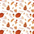 Seamless Autumn Pattern with Leaves and Hedgehog Royalty Free Stock Photo