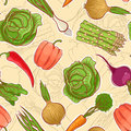 Seamless autumn vegetables beautiful background with various Royalty Free Stock Images