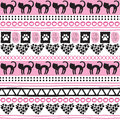 Seamless aztec cat pattern vector illustration