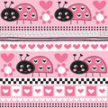 Seamless aztec ladybird pattern vector illustration
