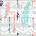 Seamless Aztec Tribal pattern with feather and Royalty Free Stock Photo