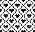 Seamless aztec tribal pattern with hearts grunge retro style vector ornament vintage ethnic in black and white Royalty Free Stock Images