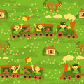 Seamless baby pattern – travel by train funny kids with smiling children traveling Stock Images