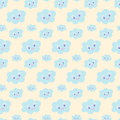 Seamless baby pattern with cute blue smiling clouds on pastel yellow background,  illustration, eps 10. Kawaii smiling cloud Royalty Free Stock Photo