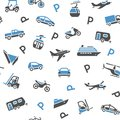 Seamless backdrop transport icons Stock Image