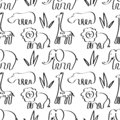Seamless background with African animals, elephants, lions. Hand drawn lettering Africa. Black and white, graphics
