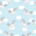 Seamless background of animal illustration with cute unicorn on white cloud background