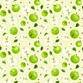 Seamless background with apples and leaves green seeds Stock Photography
