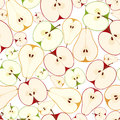 Seamless background with apples and pears vector slices of on a white Stock Images