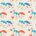 Seamless background autumn rain umbrellas and leaf fall Royalty Free Stock Photos