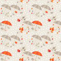 Seamless background autumn rain umbrellas and leaf fall Stock Photo